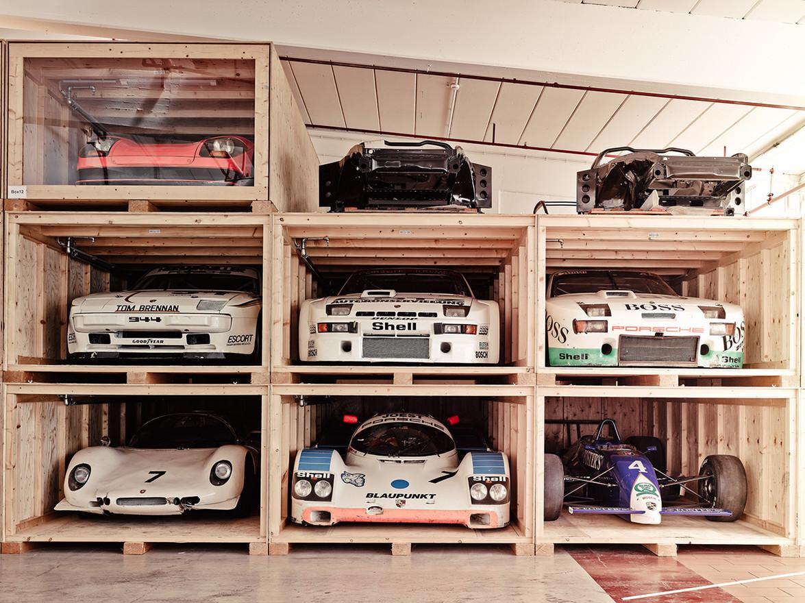 Porsches stored on pallets w1400
